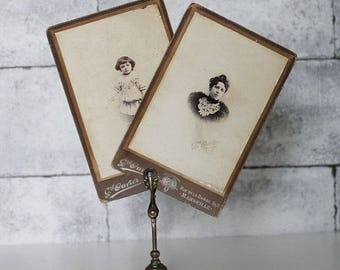 Antique Cabinet Card- Black and White photography, Mom and baby daughter, French Antiques, Marseille, French Ephemera, Antique decor, C411