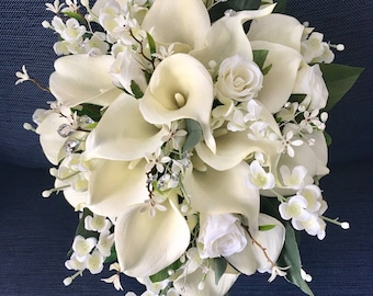 Calla lily accessory etsy wedding bouquetbridal bouquetcalla lily bouquetcascading bouquetwedding accessory junglespirit Images