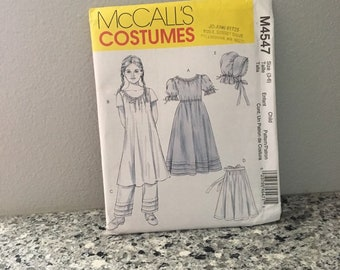 Pioneer prairie frontier early American costume pattern girls McCall's M4547 Size 3-6 with dress, bonnet, chemise, pantaloons & apron UNCUT