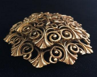 Vintage 1960's Monet Filigree Brass Pin/Brooch