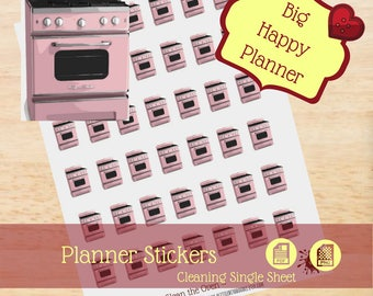 Clean Oven Stickers|Cleaning Single Sheet Stickers|Single Sheet Stickers|Big Happy Planner Stickers|Happy Planner Stickers|Create 365|MAMBI