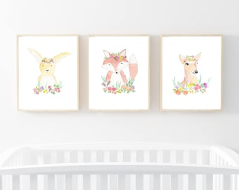 Woodland Nursery Art, Set Of 3, Bunny, Fox, Deer, Forest Nursery Prints, Baby  Wall Decor, Rustic Baby Decor, Animal Drawings