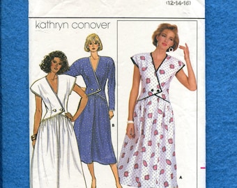 1980's Butterick 3854 Kathryn Conover Dress with Double Button Bodice Size 12