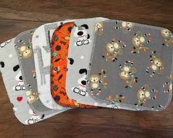 Baby Wipes, Baby Washcloths, 6-Pack Washcloths, Washcloths, Flannel Wipes, Cloth Wipes, Baby Shower Gift, Baby Branch Boutique