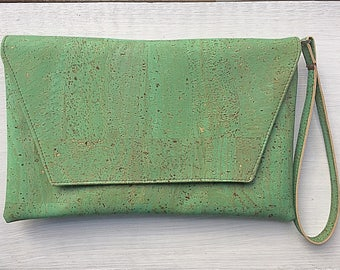 Green Cork Envelope Clutch