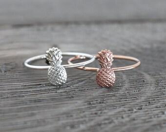 Pineapple Ring, Tiny Pineapple Ring, Rose Gold Stacking ring, Midi Ring, tiny pineapple, boho rings, hawaii rings, aloha ring, tropical ring