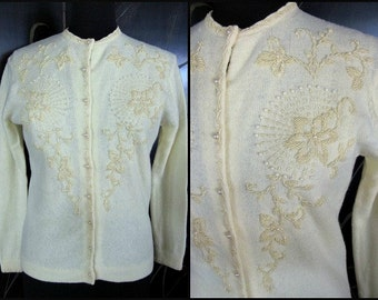 Vintage 50s Beaded Sweater / Vintage Beaded Cardigan / Yellow Beaded Sweater / fits S-M