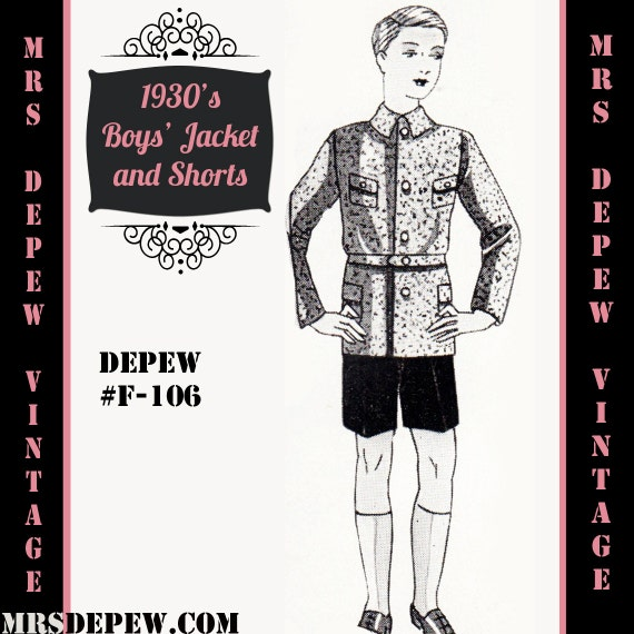 Steampunk Kids Costumes | Girl, Boy, Baby, Toddler  1930s Boys Jacket and Trousers/ Shorts in Any Size Depew F-106 - Plus Size Included -INSTANT DOWNLOAD-Menswear Vintage Sewing Pattern 1930s Boys Jacket and Trousers/ Shorts in Any Size Depew F-106 - Plus Size Included -INSTANT DOWNLOAD- $9.50 AT vintagedancer.com