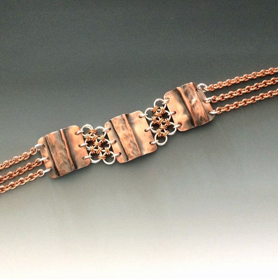 Hammered copper and sterling silver chainmaille bracelet