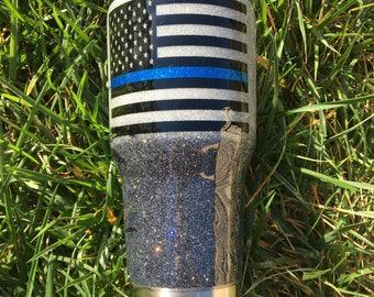 Thin Blue Line glitter 30oz Tumbler stainless steel tumbler glitter tumbler gunmetal and silver