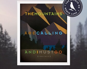 """The Mountains are Calling [No.5] John Muir 8""""w X10""""h Hiking, Typographic, Outdoor, Nature Decor & Housewares Wall Decor"""
