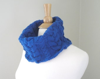 Chunky Cowl Scarf with Cables, Bright Royal Blue, Hand Knit, Warm Acrylic, Women's Fashion Scarf,