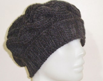 Charcoal Hat Womens gift for woman, unique gift, hand knitted, Knit, Winter Hat, Women's hat, for her, Mom, Mothers Day, Mother's Day Gift