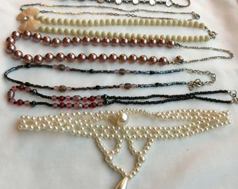 Vintage Choker Necklaces, Faux Pearl, Beaded Necklace, Choker Necklace, 1990's, Jewelry Lot