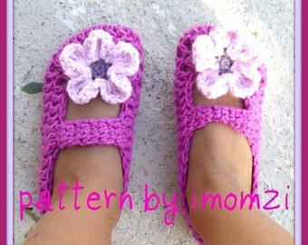 Crochet Pattern / PDF / Mary Jane Slippers Pattern for 2 years old size to 9 years old size