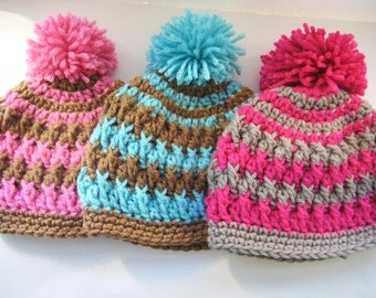 Crochet Pattern Hat , Newborn Baby to Adult,  Boy and Girl,  Beanie Hat  Pattern, Hat Crochet Pattern - Pom Pom Hat