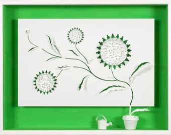 FLOWERS OF HUMANITY - Paper cut and paper sculpture - photographic reproduction art card