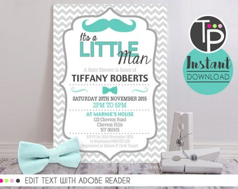 LITTLE MAN Baby Shower Invitation, Instant Download Baby Shower Invitation, Little Man Baby Shower, Baby Shower Boy Invitations, 0101