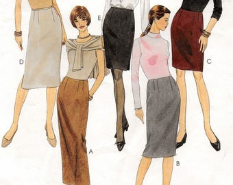 A Slim Skirts Pattern for Women: Waistband Style in 3 Lengths & No-Waistband Styles in 2 Lengths - Uncut - Sizes 14-16-18 ~ McCall's 2726