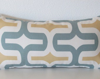 Grey lumbar pillow cover - yellow - geometric - 12x24 - lumbar pillow case
