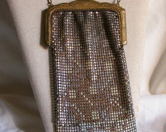 Antique Enameled Gold Tone Metal Mesh Handbag Vintage Accessories Ladies Purse