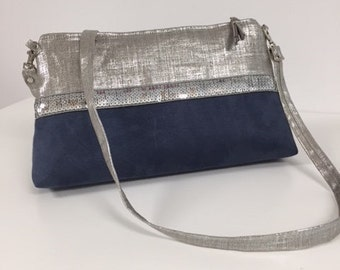 Blue jean shoulder bag, iridescent linen, silver glitter / Blue jean removable shoulder bag, suede and silver linen, sequins / clutch