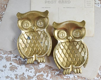 Vintage Brass Owl Catch All Set - Pair of Gold Ring or Change Holder Trivet Ashtray