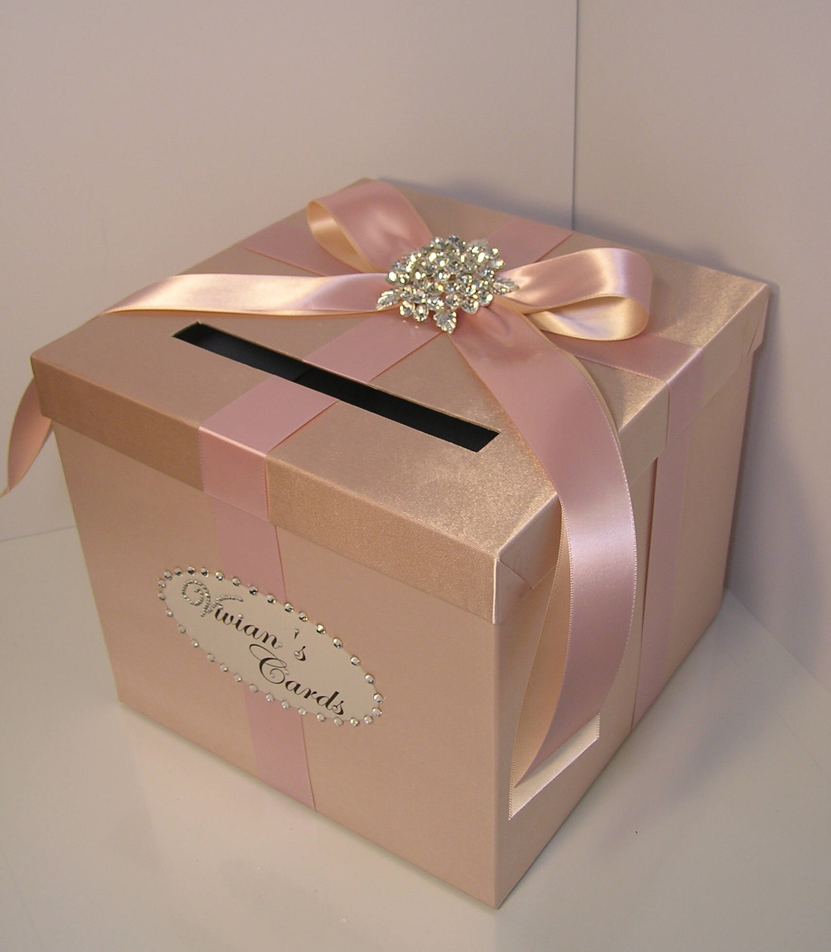 Wedding Gift Boxes: Wedding Card Box Rose Gold And Blush Pink/Nude Gift Card Box