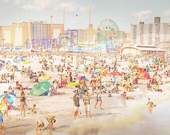 Photographie plage coloré / / photographie de plage / / Coney Island Beach à Brooklyn / plage personnes Print / / Oceanside New York - Peeps plonge 3