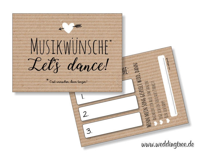 50 Music Wish Cards kraft paper for the wedding-music wishes for the DJ