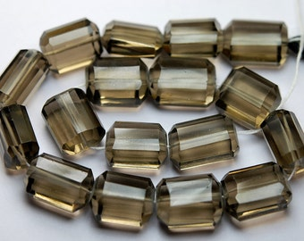 8 Inches Long Strand,Smoky Color Quartz Faceted Step Cut Nuggets-14-18mm
