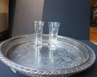 Two Vintage Libbey Fluted Carriage Double Shot Glasses