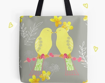 Tote Bag, Shopping Bag, Bag, Holdal, Carrier, Beach Bag, Lovebirds, Illustrated Birds, Yellow and Grey