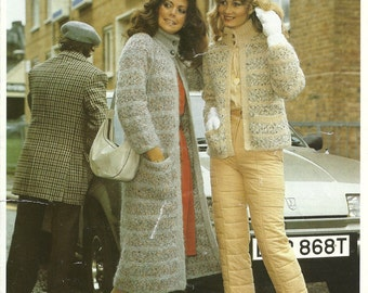 Lee Target K1390 Vintage Knitting Pattern Original Ladies Coat or Jacket in Two Lengths with High Collar