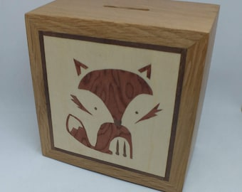 A Beautifully Hand Made Solid Oak Money Box Hand Decorated with a Fox Cub Marquetry Design