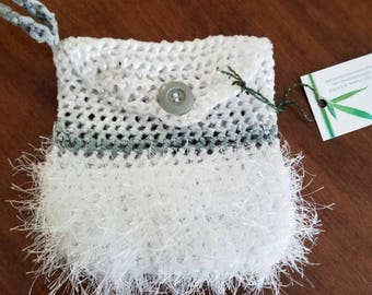 Plarned White Evening Purse with Wristlet and a Gray button crocheted with plastic newspapaer bags and White Fun Fur.