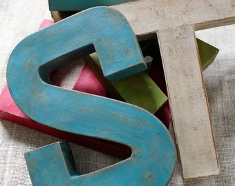 """Single 12"""" Letter. Hand Painted Vintage Style Industrial Farmhouse Letter. Word Art."""