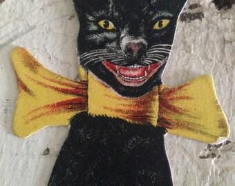 Antique Halloween 1900s Black Cat Hosiery Original Trade Advertisement Card Vintage Halloween Decor Collectible Display