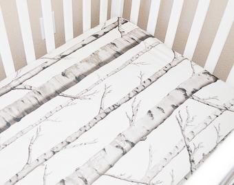 Birch Crib Sheet- Woodland Crib Set - Rustic Baby Bedding - Fitted Crib Sheet - Nature Crib Sheet - Woodland Baby Shower - Woodland Nursery