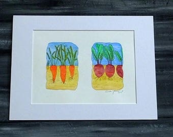 KITCHEN WALL ART - Vegetables Watercolor Painting, Food Wall Art, Cooking Art, Chef Art, Orange Carrots Red Beets Kitchen Home Decor