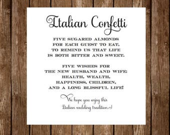 Italian Confetti Wedding Poem