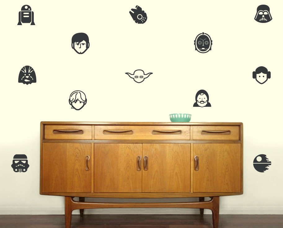 Star Wars Characters Silhouette Vinyl Decals Set Of - How to make your own vinyl wall decals at home