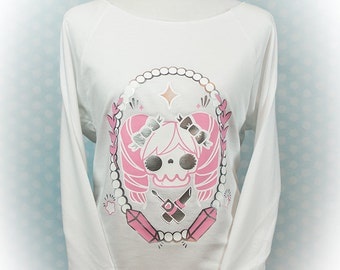 The Shoujo Unlife Graphic 3/4 Sleeve Wideneck Sweatshirt Kawaii Fairy Kei Pastel Goth