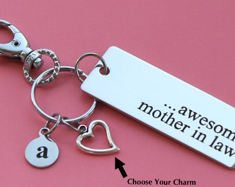 Personalized Mother in Law Key Chain Stainless Steel Customized with Your Charm & Initial -K462