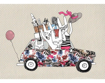 Holiday animals in mini car A4 print