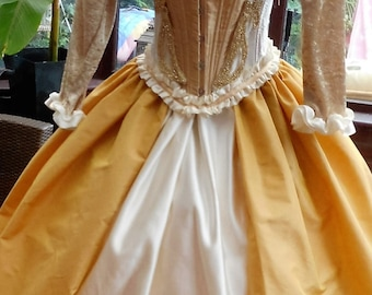 Ready to send Victorian boned Corset dress lace up back ajustable size corset can be worn separate to Frilled hooped skirt 40inch length