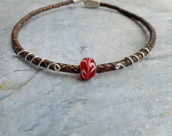 Brown leather choker necklace / antique brown braided leather / red glass bead / women's ladies jewelry / Python head tail clasp / jewelry