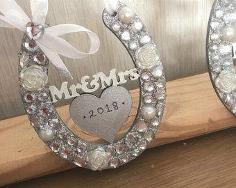 Mr and mrs lucky horse shoe wedding gift