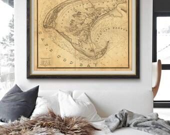 Cape Cod Map 1836, Cape Cod Old Map, Cape Cod Bay, Nautical Decor, Vintage Map- CP061