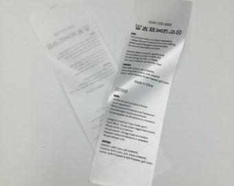 300 Fabric Labels, Custom Printed Satin, Folded Care Label, Black Printed on white satin